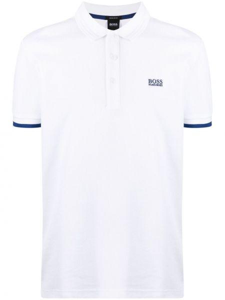 Biała koszula bawełniana krótki rękaw Boss Hugo Boss