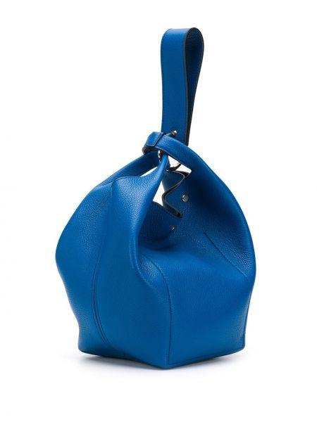 Кожаная с ремешком синяя сумка-тоут Elena Ghisellini