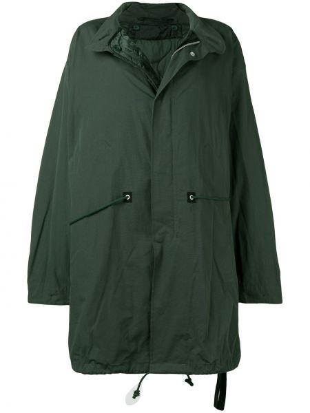 Хлопковое прямое зеленое длинное пальто Unravel Project