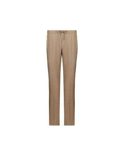 Шерстяные бежевые брюки повседневные Enrico Mandelli