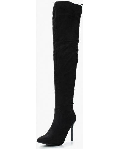 Ботфорты на каблуке замшевые черные Ws Shoes