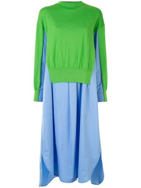 Niebieski wełniany rozbłysnął długo sukienka z długimi rękawami Enfold
