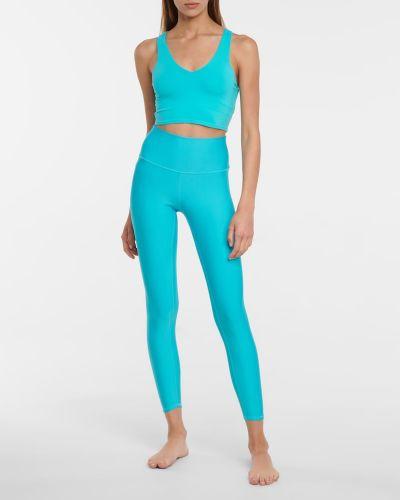 Niebieski biustonosz sportowy z nylonu Alo Yoga