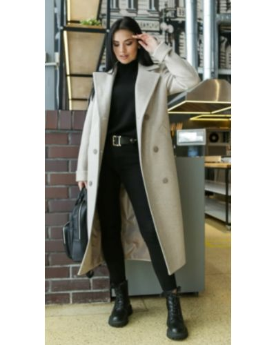 Шерстяное пальто - черное Leo Pride