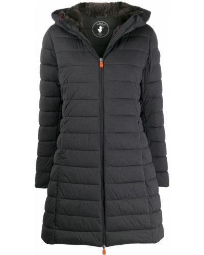 Коралловое деловое длинное пальто с капюшоном Save The Duck