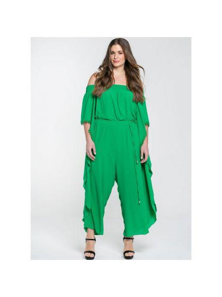 Зеленый вечерний брючный комбинезон на торжество свободного кроя Mat Fashion