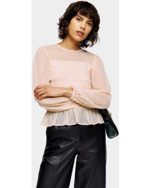 Блузка с рюшами розовая Topshop
