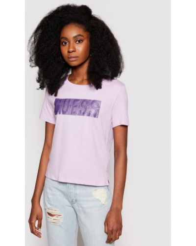 Fioletowy t-shirt Guess