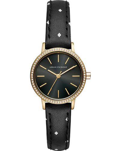 Часы на кожаном ремешке кварцевые водонепроницаемые с камнями Armani Exchange