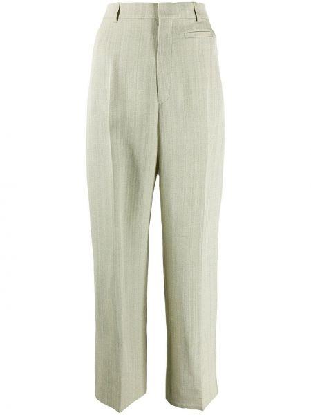 Spodni jedwab zielony przycięte spodnie z paskiem Jacquemus