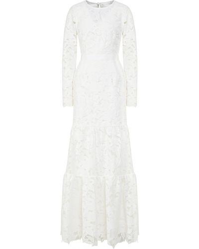 Белое платье макси с подкладкой на молнии Self-portrait