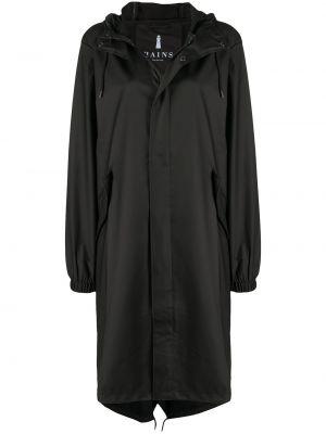 Черный плащ с капюшоном с потайной застежкой Rains