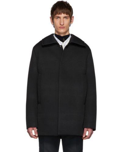 Черное длинное пальто с воротником на молнии с подкладкой Namacheko