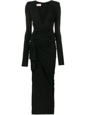 Czarna sukienka długa z falbanami z długimi rękawami Alexandre Vauthier