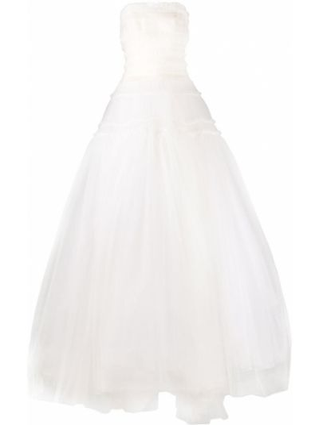 Расклешенное шелковое белое свадебное платье Vera Wang
