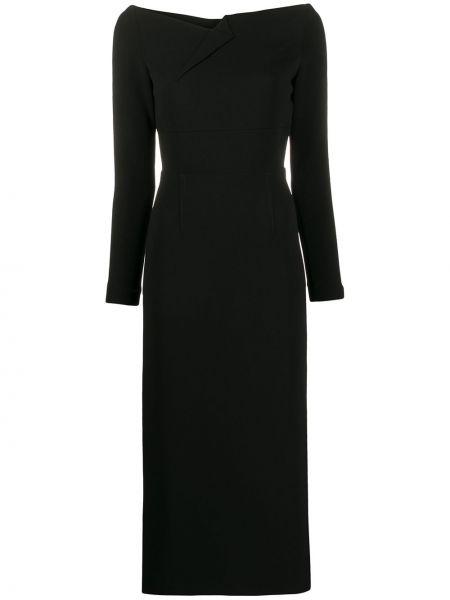 Czarna sukienka długa z długimi rękawami z wiskozy Roland Mouret