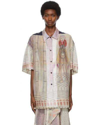 Beżowa koszula krótki rękaw bawełniana Lemaire