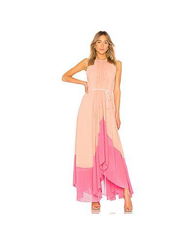 Платье с поясом персиковое с вырезом Saloni