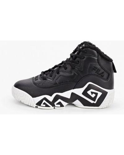 Кожаные высокие кроссовки - черные Fila