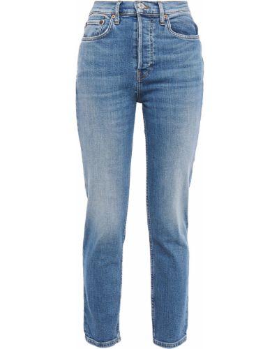 Niebieskie jeansy z paskiem bawełniane Re/done