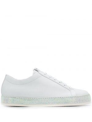 Белые кроссовки на шнуровке с заплатками на плоской подошве Le Silla