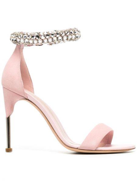 Różowy skórzany sandały plac z klamrą na pięcie Alexander Mcqueen