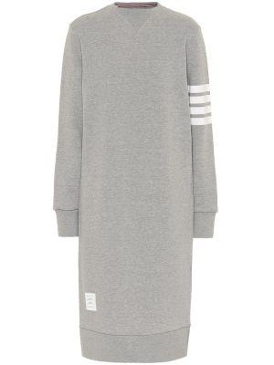Платье миди серое в полоску Thom Browne