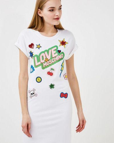 Белое платье Love Moschino