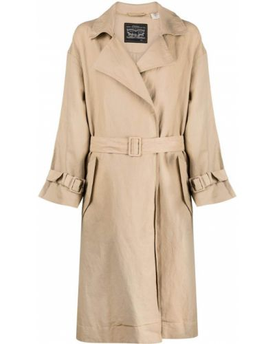 Льняное бежевое длинное пальто с воротником Levi's®