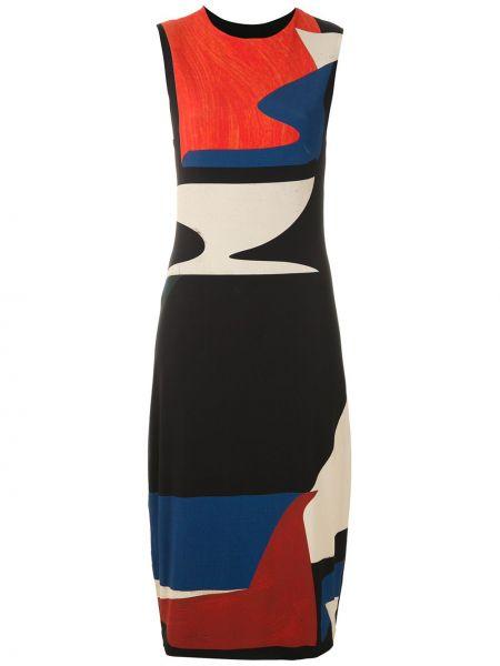 Черное платье миди без рукавов с вырезом Osklen