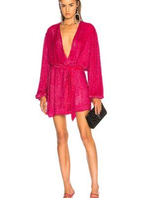 Różowa sukienka na imprezę kopertowa koronkowa Retrofete