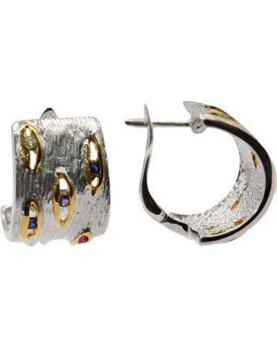 Серьги позолоченные с аметистом серебряные серебро россии