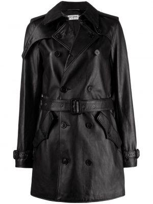 Черное кожаное длинное пальто с капюшоном Saint Laurent