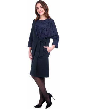 Асимметричное приталенное платье миди с капюшоном для офиса Lautus