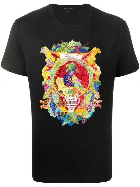 Koszula krótkie z krótkim rękawem prosto z nadrukiem Versace