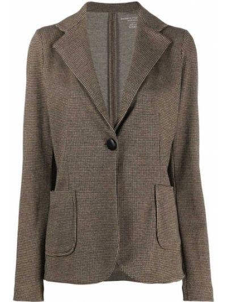 Приталенная коричневая классическая длинная куртка с лацканами Majestic Filatures