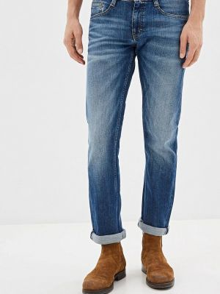 Синие прямые джинсы с жемчугом Mustang