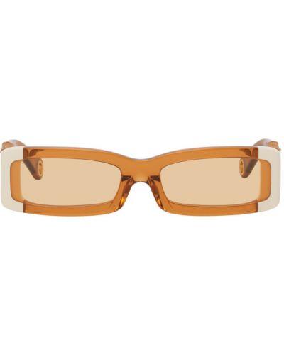Белые солнцезащитные очки прозрачные прямоугольные Jacquemus
