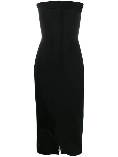 Czarna sukienka midi asymetryczna z wiskozy Genny