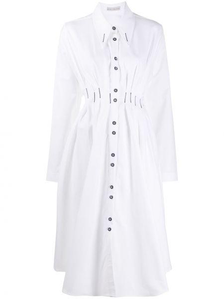 Расклешенное классическое платье миди с длинными рукавами на пуговицах Palmer / Harding
