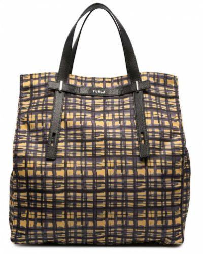 Черная кожаная сумка-тоут с карманами Furla