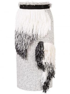 Прямая с завышенной талией юбка миди с бахромой в рубчик Sacai