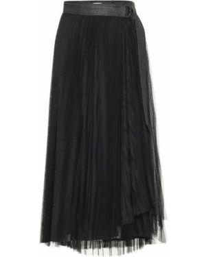 Кожаная юбка из фатина пачка Brunello Cucinelli