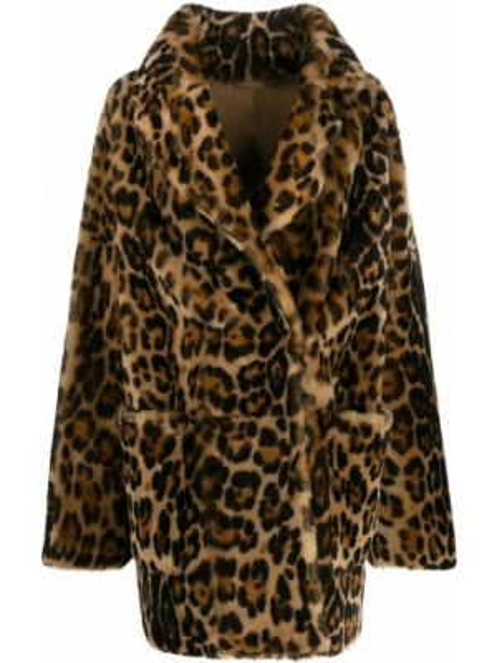 Пальто с запахом леопардовый Liska