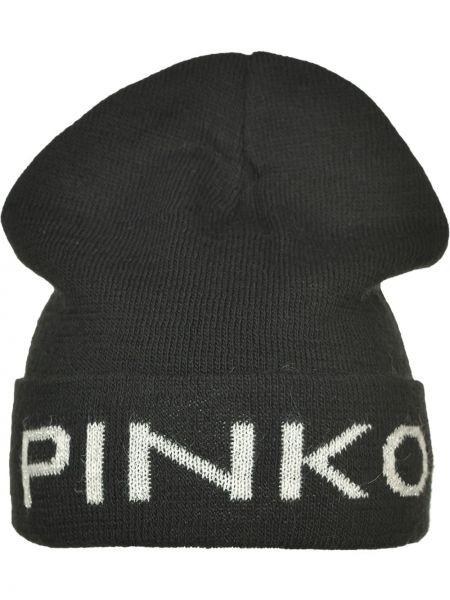 Czarna czapka wełniana z printem Pinko