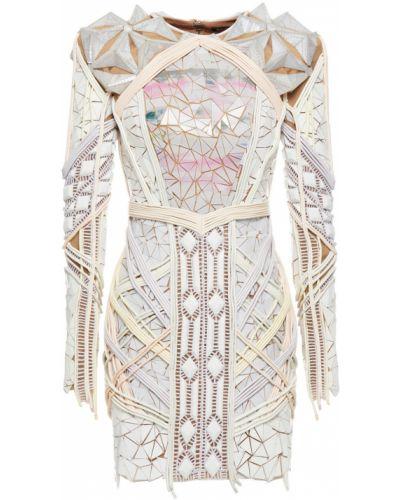 Платье мини из фатина - белое Balmain
