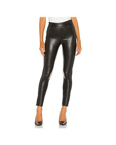 Кожаные черные брюки на резинке на молнии с поясом Susana Monaco