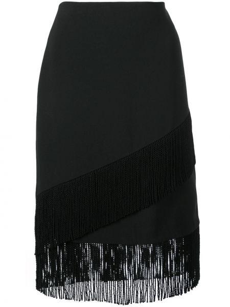 Черная юбка карандаш с бахромой с рукавом 3/4 Josie Natori