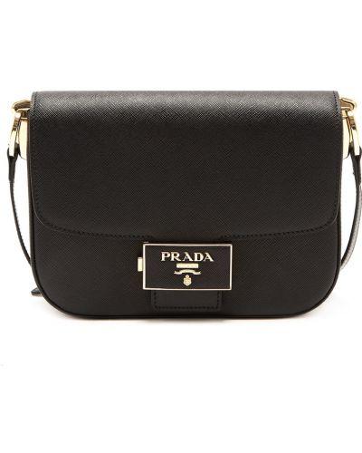 Кожаная черная сумка на молнии Prada