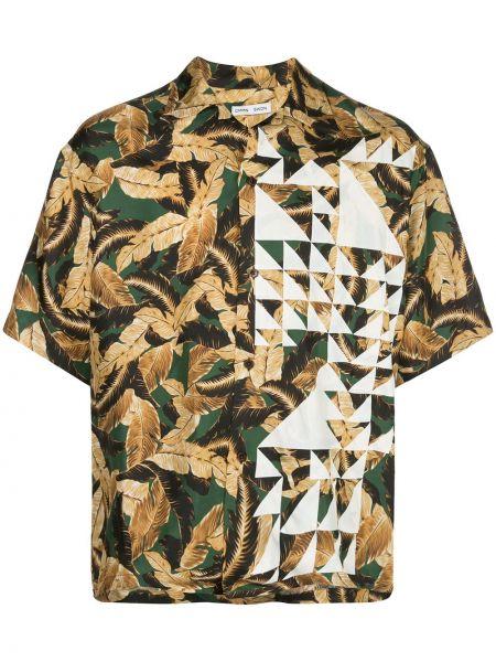 С рукавами свободная шелковая зеленая рубашка с короткими рукавами Cmmn Swdn